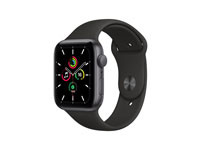 Apple Watch SE (2020) GPS 44MM Space Gray Aluminum Case with Black Sport Band - Regular