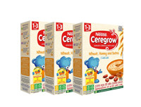 Nestle Pack of 3 CEREGROW Junior Cereal with Milk What, Honey & Dates with Milk from 1-3 years 250g
