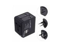 Universal Travel Adapter – International Power Adapter With 2.4a Dual USB Ports Black