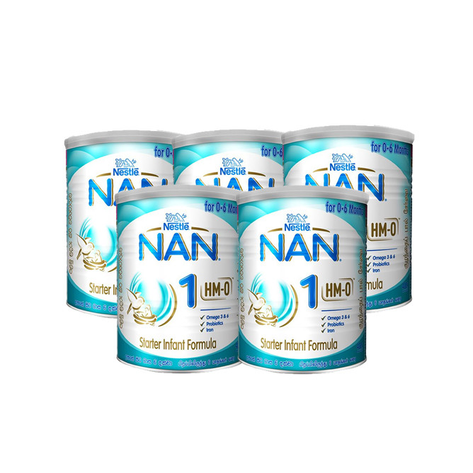 Nestle Pack of 5  NAN HMO 1 Starter Infant Formula with Iron Birth to 6 Months 400g: Best Nestle Groceries for Sale | Best Price in Sri Lanka 2021 1
